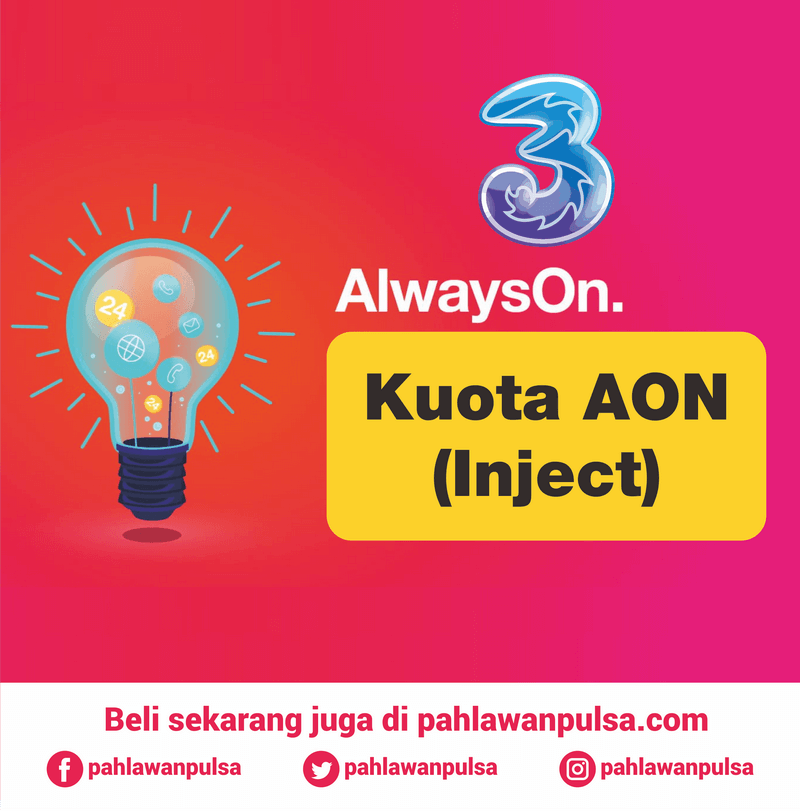 Paket Internet TRI Data - Kuota AON 18GB